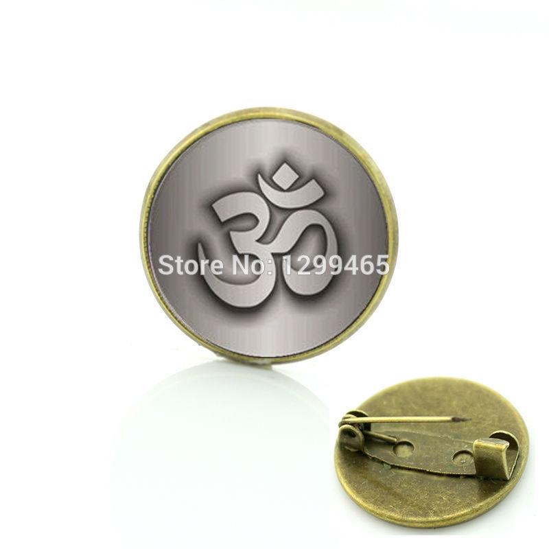 2017 Direct Selling Hot Sale Mandala Namaste Pattern Glass Brooches Necktie Om Yoga Religious Flower Symbol Photo Badge C 1027
