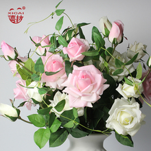 (EXTRA 10%OFF/2LOTS) 5Pieces/Lot (2Flower+1Bud)/PC Home/Wedding Decoration Artificial Decorative Latex Real Touch Flower Roses