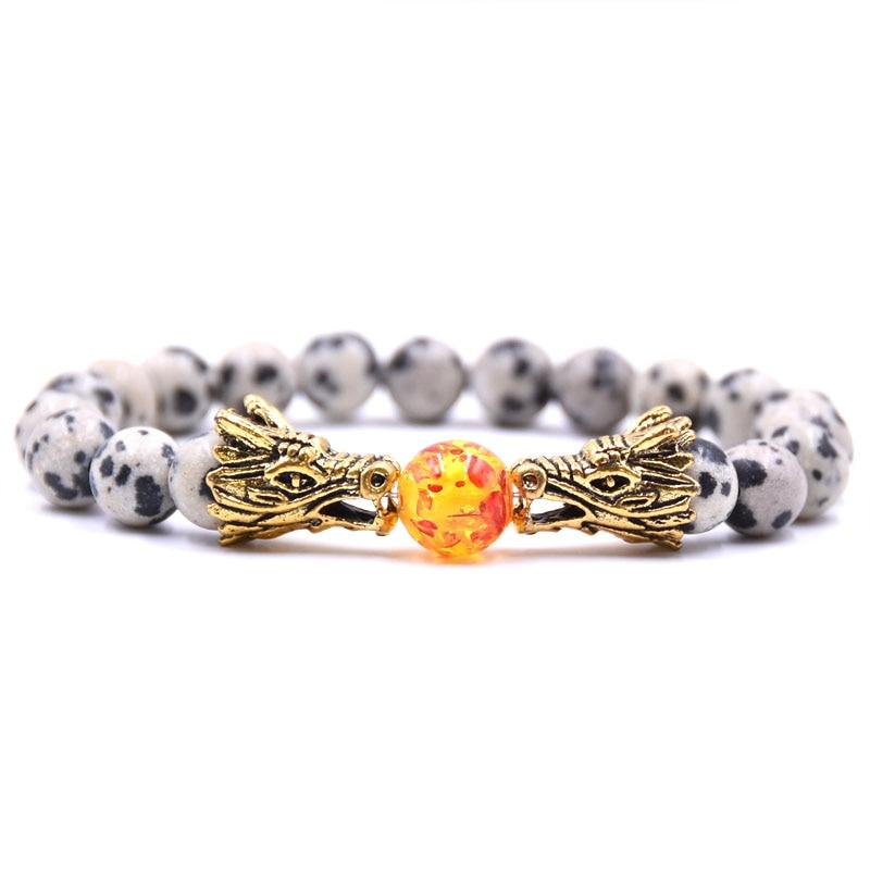 HYHONEY 8MM Natural Stone Beads Bracelet For Men bileklik Men Jewelry Dragon pulseras 18
