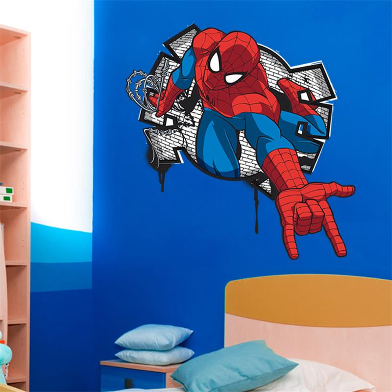 3d cartoon spiderman wall decals pvc pegatinas de pared - Pegatinas pared ninos ...