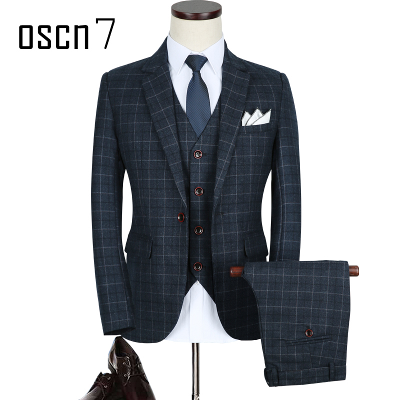 OSCN7 3pcs plaid slim fit suit men 2017 new classic terno masculino plus size leisure wedding suits for men 5XL