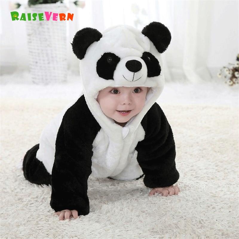 2017 0-2Y Cute Newborn Panda Costume Kids Clothes Infant Baby Boy Girl 3D Animal Rompers Winter Warm Jumpsuit Pajamas цена и фото
