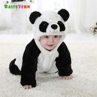 2017 0-2Y Cute Newborn Panda Costume Kids Clothes Infant Baby Boy Girl 3D Animal Rompers Winter Warm Jumpsuit Pajamas