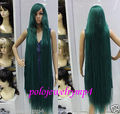 Free Shipping>>>  New wig Cosplay dark green mixed long straight women wig 150cm