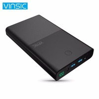 VINSIC 30000MAH Dual USB Power Bank LED Screen Display DC Input Output Battery Charger Power Supply