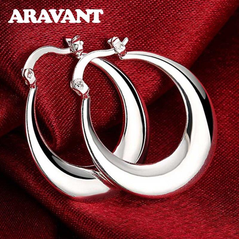 925 Silver Fashion Moon Hoop Earring For Women Silver Jewelry