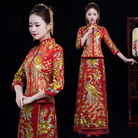 Red Embroidered peacock peony Cheongsam wedding dress Chinese Women Vestido Oriental elegant long Qi Pao Noble Party Show