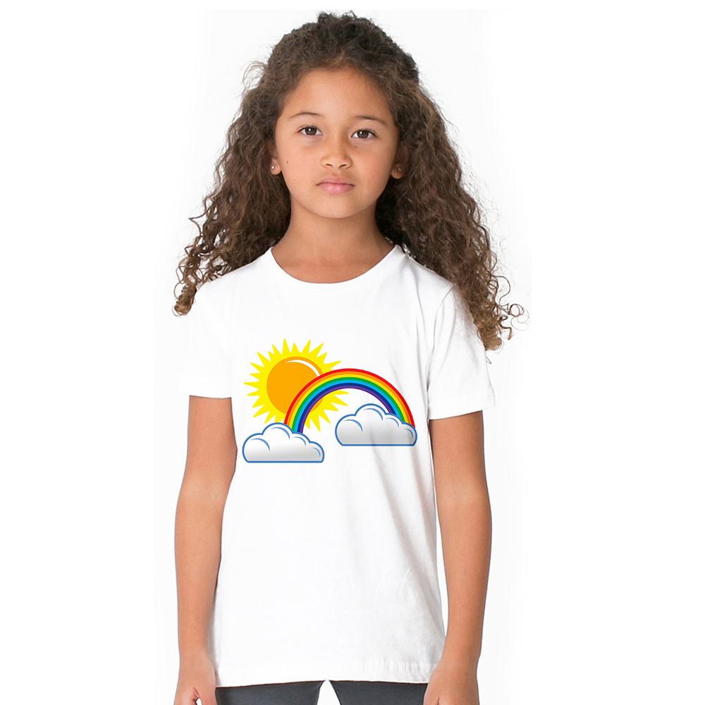 toddler tee Rainbow sun cloud cute summer style baby Girl T-shirts 2018 Cotton Summer Children Girl white Tshirt For Kid Clothes