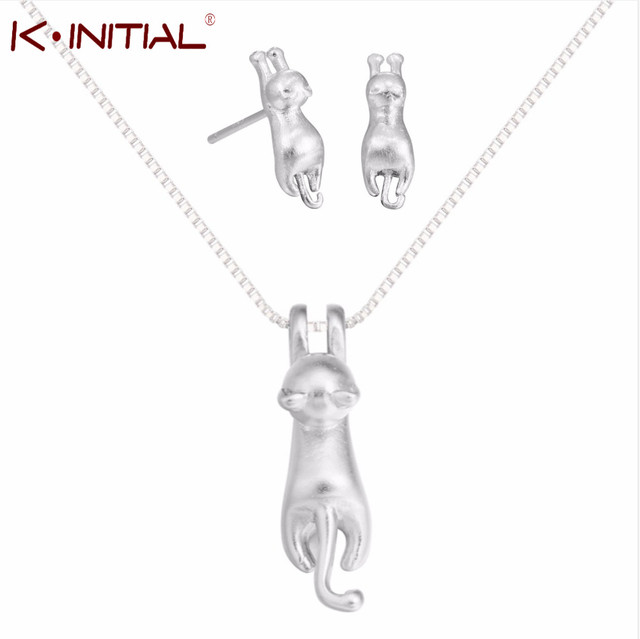 Kinitial 3d Animal Cat Necklace Earring Set Silver Charm Cat Hanging