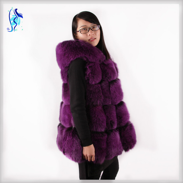 2018 Hot New Fashion Fox Fur Vest Fur Coat With A Hat 100% High Quality Natural Fur Dress Casual Jacket And Free Shipping
