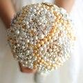 Белый и Золотой blingbling перл свадебный букет пользовательские кристалл люкс свадебный букет Невесты букет Сферические жемчуг букеты
