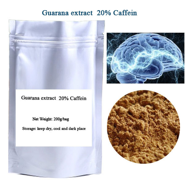 Free shipping 200g/bag Guarana seed extract powder  20% Caffein ehance the memory