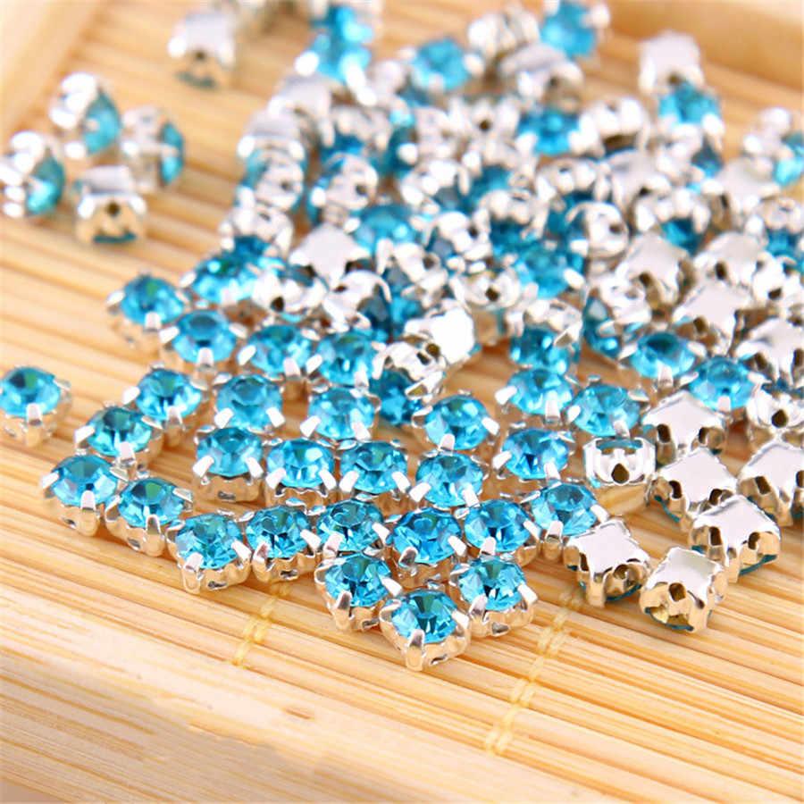 PF 50pcs 4MM Rhinestones Claw Drill Sew on Strass Beads Crystals for Needlework Bracelet Wedding Jewelry Accessories TZ003