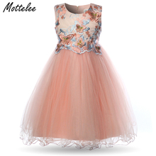 Formal Girls Dress Kids Sleeveless Butterfly Embroidery Flower Girl Dresses Child Wedding Party Frocks for 2-11 Years Baby chaffare beading girls dress elegant kids party dresses for wedding formal tulle girl princess vestido pearls flower baby frocks