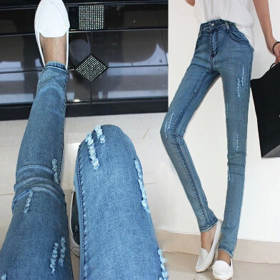 Skinny jeans women hole jeans fashion ripped denim pencil jeans washed long women pants
