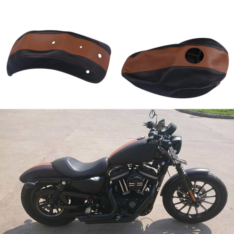 Motorcycle Motorbike Fuel Gas Tank Leather Cover and Fender Protector For Harley Sportster 883 2009 2011 in Covers Ornamental Mouldings from Automobiles Motorcycles