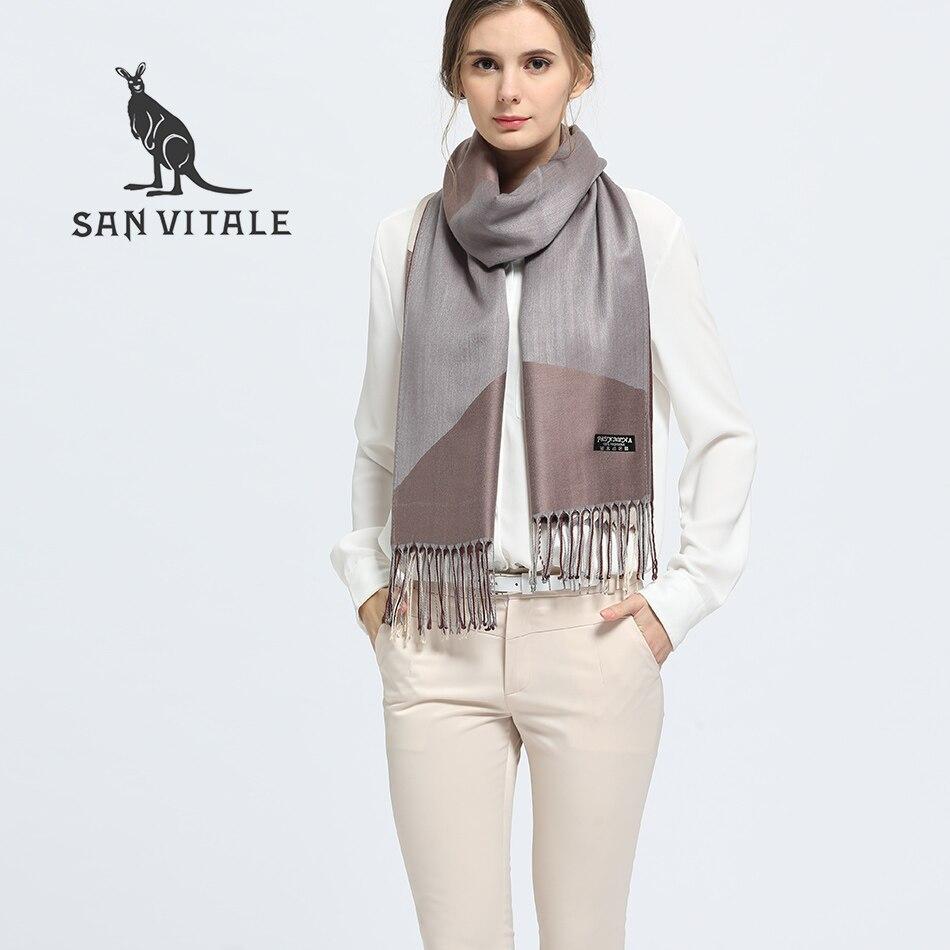 SAN VITALE Women Scarf Shawls Winter Warm Scarves Luxury Brand Soft Fashion Wraps Wool Cashmere Silk Hijab Bandana Drop shipping