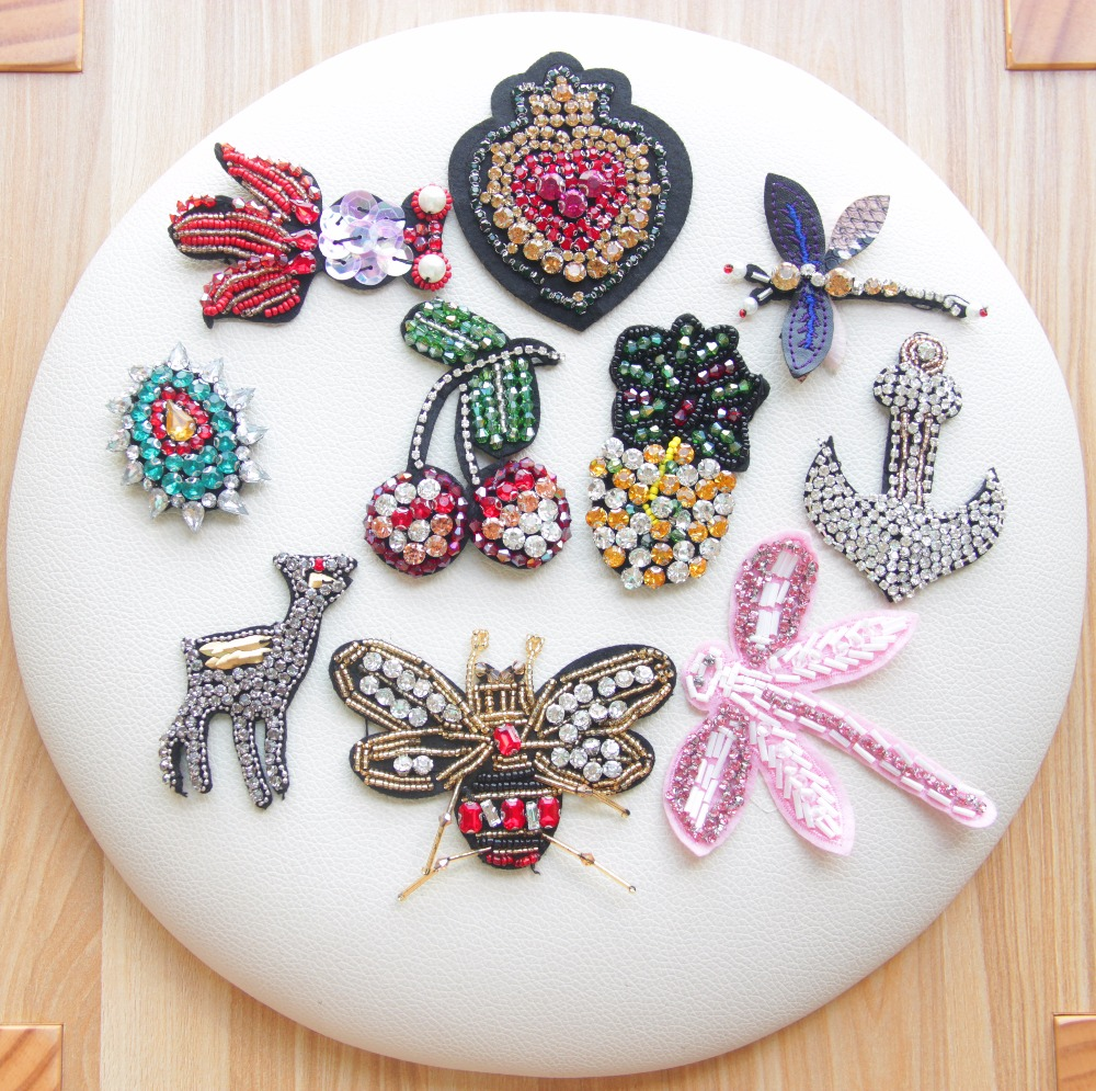 1 set beaded diamond crystal high quality exquisite garment bag shoe decorative accessoriesbeaded applique patches for clothing