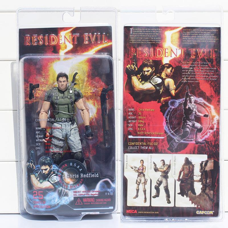 1pcs 18cm Resident Evil Neca Toys Chris Redfield Action Toy Figures Collectible Model Children Toys neca the evil dead ash vs evil dead ash williams eligos pvc action figure collectible model toy 18cm kt3427