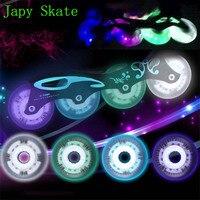 Japy Skate Flash Lighting Skating Wheels LED Sliding Roller Skate Wheels Hardness 92A 72 76 80mm 8PCS Slalom Wheels SEBA Patines