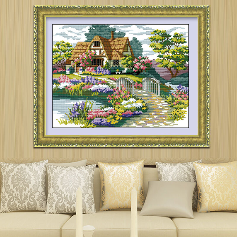 Needlework,DIY DMC Cross stitch,Sets For Embroidery kits,scenery clock home decor Counted Cross-Stitching,factory direct sale