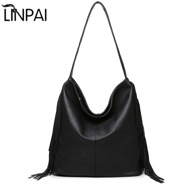 LINPAI Brand Large Capacity Women Shoulder Bag Female Casual Tote Hobos Handbag Famous Designer High Quality Tassel Totes women fashion high quality shoulder bag brand handbag female tote retro large capacity travel classic messenger crossbody bag