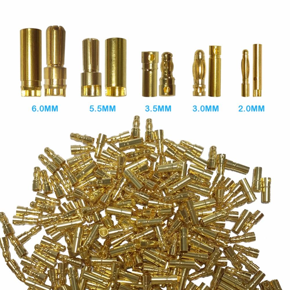 Prix pour 100 paires 3.5mm Or Bullet connecteur pour RC batterie haute qualité