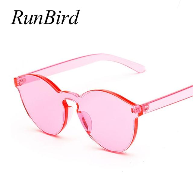 RunBird Lensa One Piece Kacamata Kacamata Pria Kacamata Gaya Wanita Plastik  Transparan Batal Permen Warna Merek feb98b7958