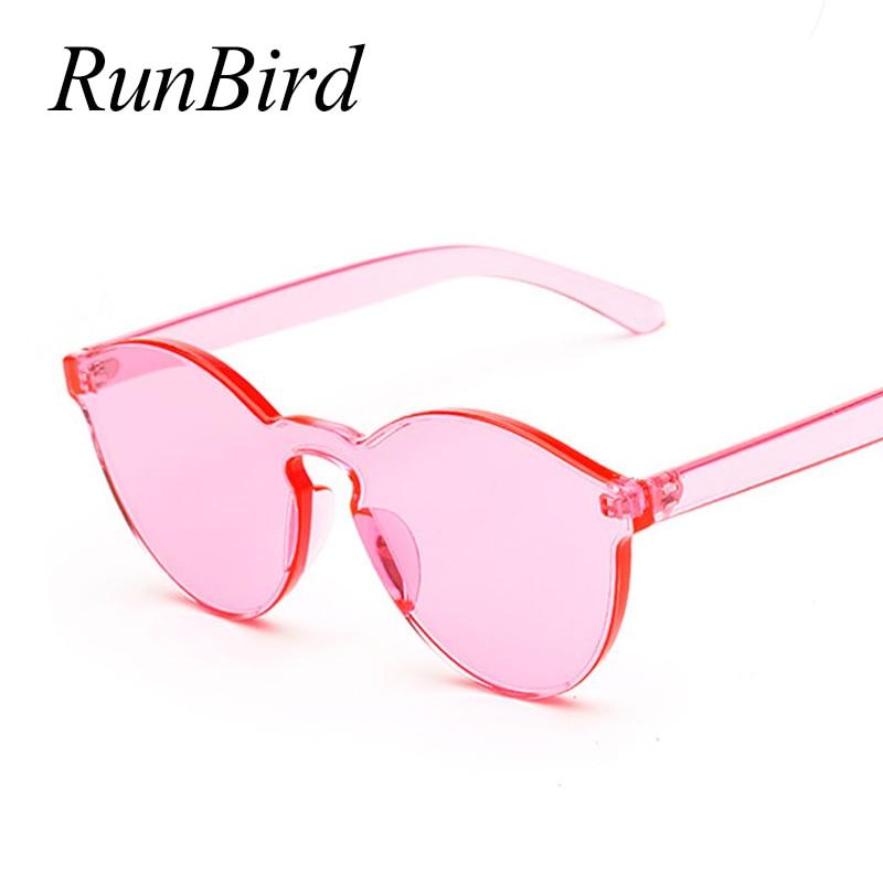 RunBird One Piece Lens Sunglasses Women Transparent Plastic Glasses Men Style Sunglasses Clear Candy Color Brand Designer 730R