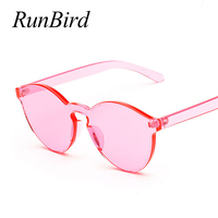 RunBird One Piece Lens Sunglasses Women Transparent Plastic Glasses Men Style Sunglasses Clear Candy Color Brand