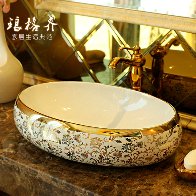 Jingdezhen ceramic bathroom wash basin, art basin gold vine