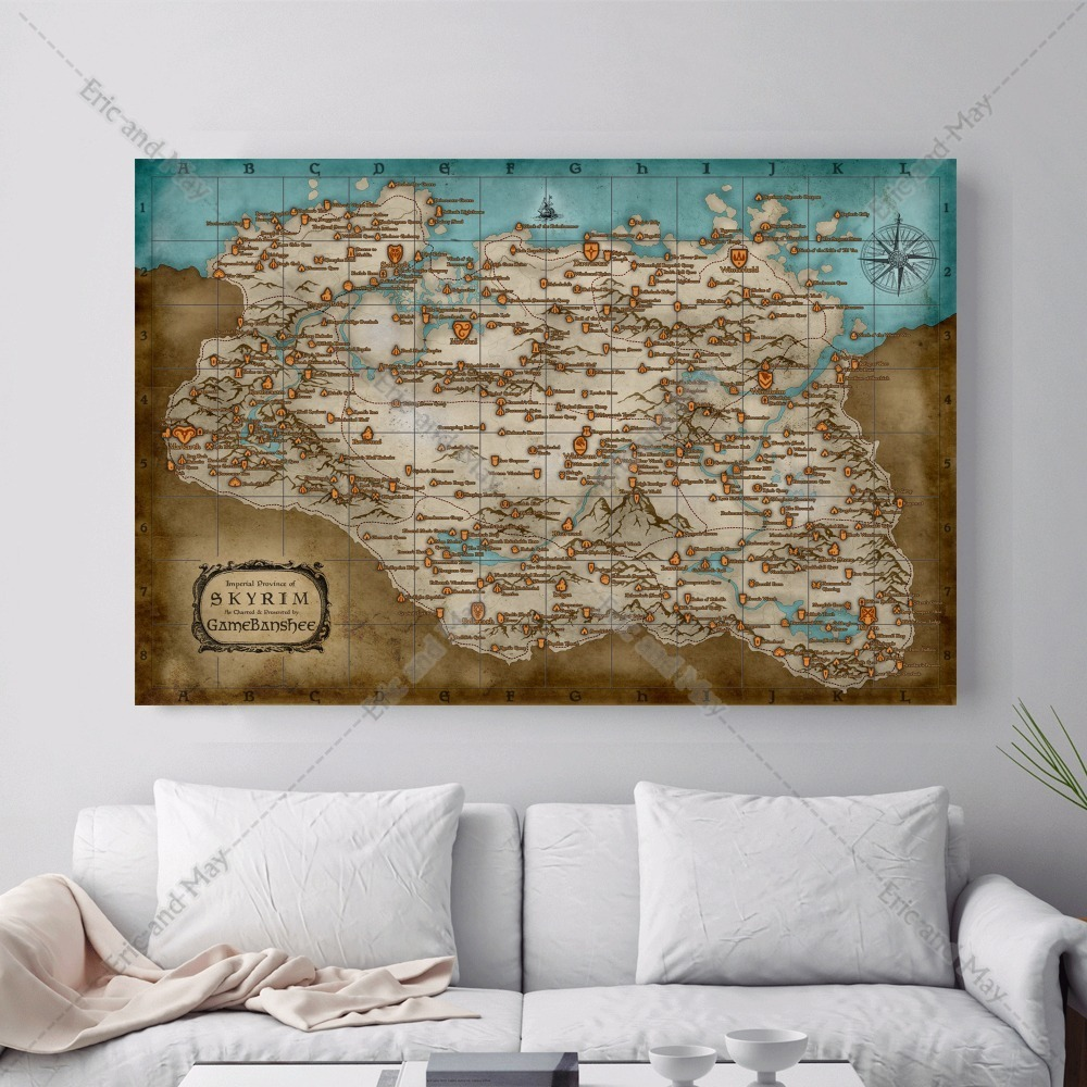 Eric And May Skyrim Map Artwork Posters Prints Canvas Art Painting Wall Pictures For Living Room Home Decor No Frame