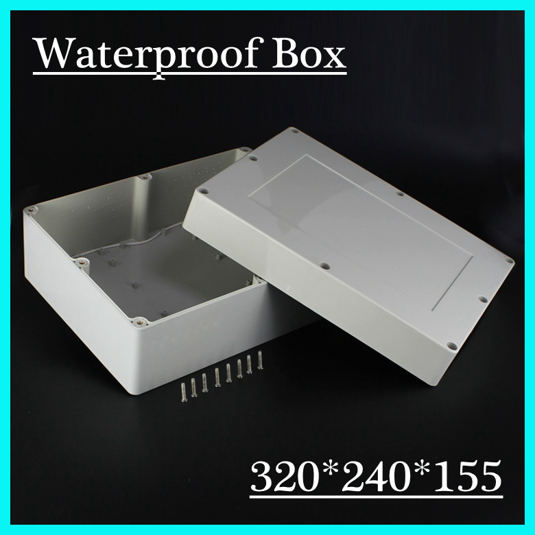 (1 piece/lot) 320x240x155mm Grey ABS Plastic IP65 Waterproof Enclosure PVC Junction Box Electronic Project Instrument Case цена