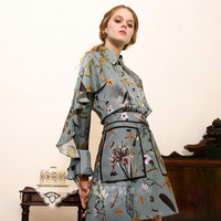 2018 New Autumn 2 Two Piece Set Women Vintage Ruffles Tops Skirts Set Floral Print Female Casual Runway Outfits