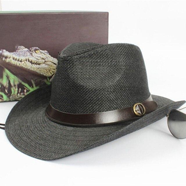 Unissex Mulheres Homens Cap Cowboy Trilby Chapéu de Aba Larga chapéu de  Palha Tampas de Um 5d8422d03fd