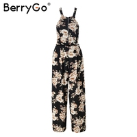 BerryGo Halter Floral Print Women Jumpsuit Long Strap Backless Overalls Romper Female Summer 2018 Hollow Out