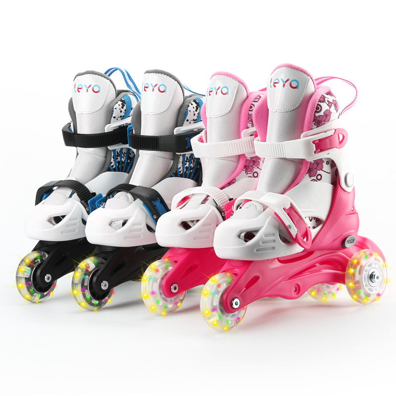 1 Pair Kids Children Lovely Stable Slalom Double Flashing Wheels Skating Shoes Adjustable  Washable Toddler Fall Prevention adult children teenagers inline ice skate shoes helmet protective gear sets knee protector adjustable washable flash wheels