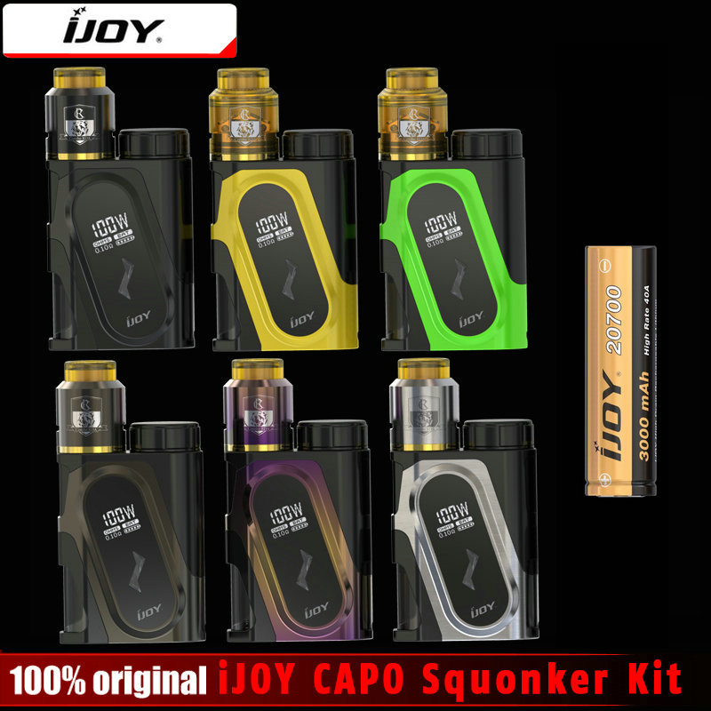 Original iJOY Squonker Caixa 100 W Mod Cigarro Eletrônico & CAPO CAPO Squonk Kit Alimentado por 18650/20700/21700 Bateria e cig Mod
