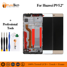 цена на 100% Tested New LCD for Huawei P9 LCD Display Touch Screen Digitizer Assembly With Frame Replacement For 5.2