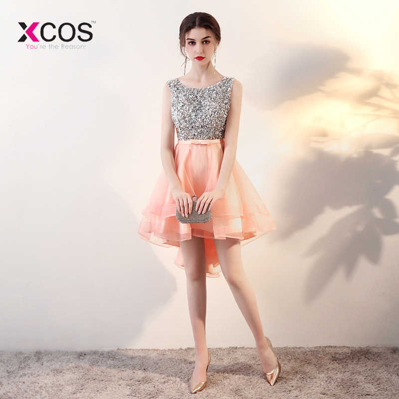 13cc03efd07db 2018 New Arrivals Sequin Beads Crystal Short Homecoming Dresses High Low  Sparkly Semi Formal Dresses Cheap Prom Party Gowns