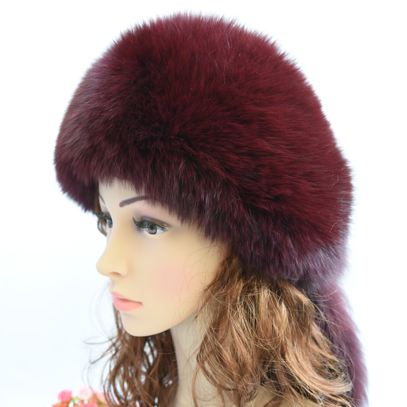 Winter Cap Women Luxury Warm Fur Hat Real Fox Fur Hats Women's Beret Whole Fur Hats Necessary Hat Pink 2018 new children hats whole skin cap real rex rabbit fur hats cute hats baby winter warm caps real fur ear protection hat ht 11