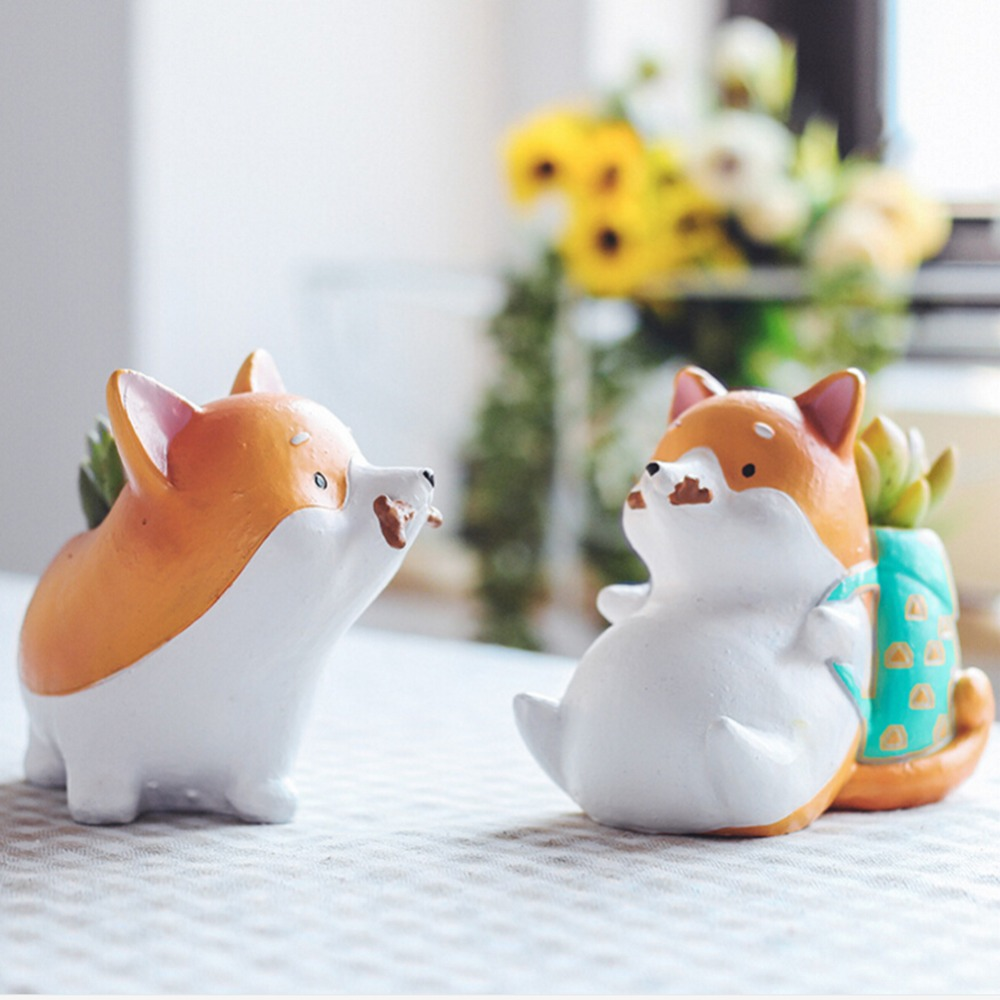 Resin Flowerpots Akita Husky Dachshund Planters Succulent Plants Dog Flower Pots Home Office Decorations New