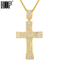 HIP Hop Full Micro Pave Rhinestone Cross Pendant Crucifix Pendants & Necklaces 316L Stainless Steel Necklace for Men Jewelry