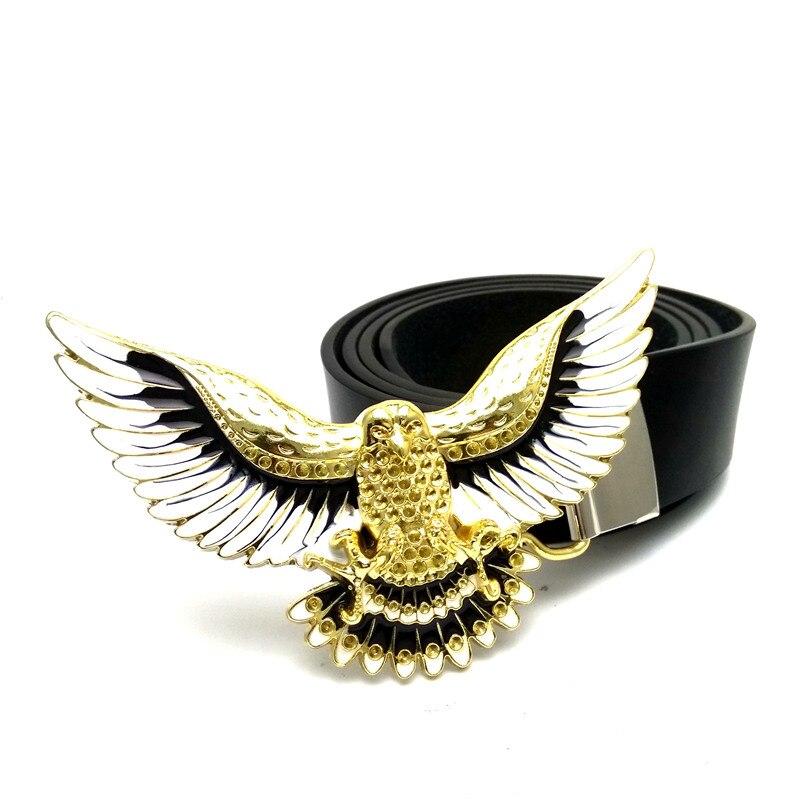 Cowboy belt buckle Gold eagle bets for men Black pu leather Mens big buckle belt cinturon hombre mens clothing accessories