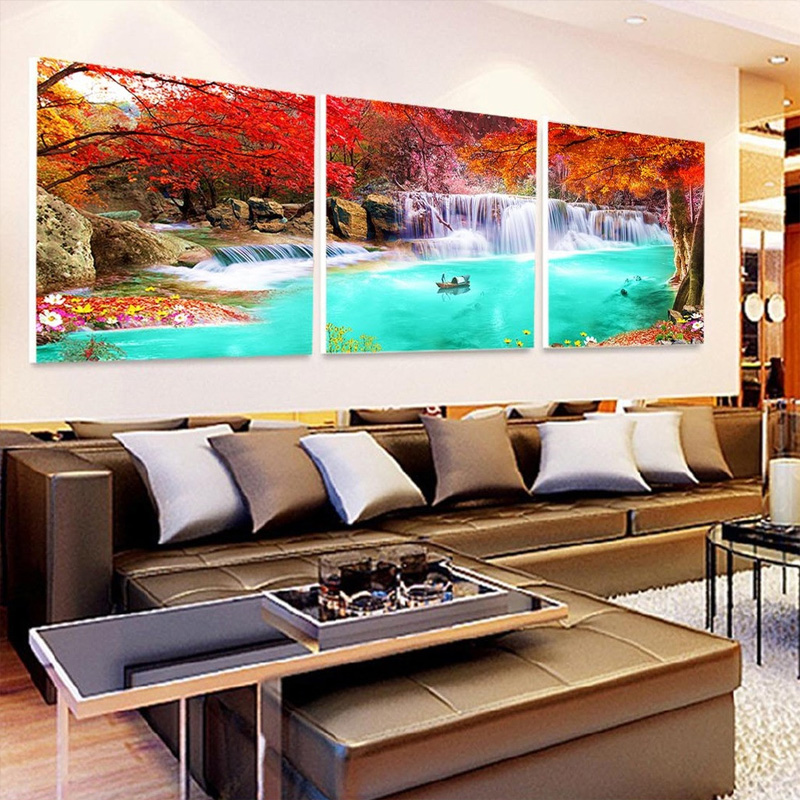 print canvas painting pictures modular   on the wall for living room art Sofa  modern pictures landscape Landscape waterfall no frame canvas