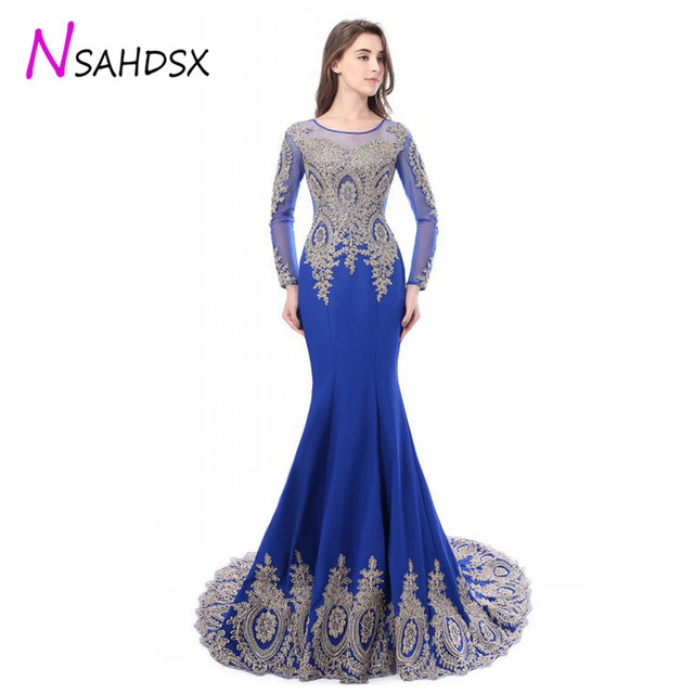 Formal Evening Dinner Dress Women Slim Lace Sexy Long Dress Long Sleeve  Embroidery Mermaid Empire Autumn a29ed9eda73e