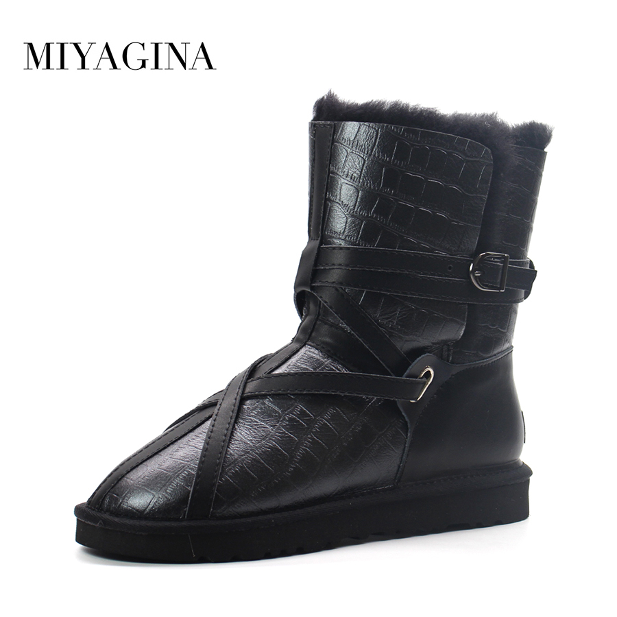 Miyagina top quality new fashion genuine sheepskin leather snow boots 100 natural wool inside real