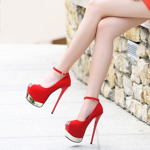Fashion Platform Women Pumps Sans talons Concise Solid High Heels 17cm Wedding Shoes Womens Peep Toe Shallow Sexy Party Shoes Islamabad