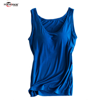 THUNDER STAR Women Built In Bra Padded Bra Tank Top Candy Color Breathable Camisole Solid Push