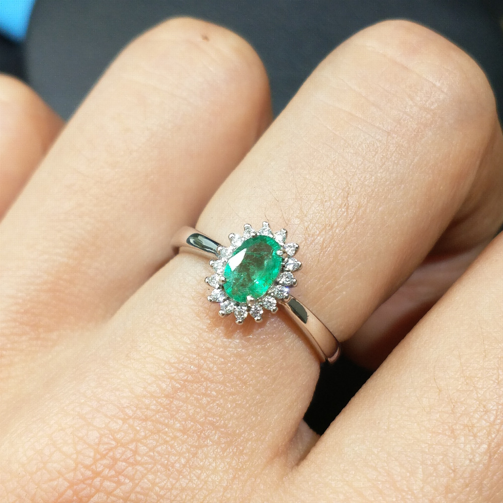 FLZB Natural gemstone emerald ov 4 6mm in 925 sterling silver with 18k white gold plated